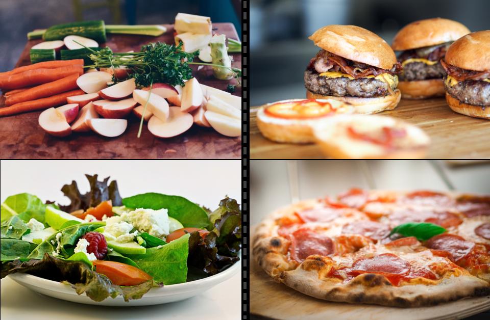 Gegenüberstellung: Obst und Gemüse versus Burger und Pizza