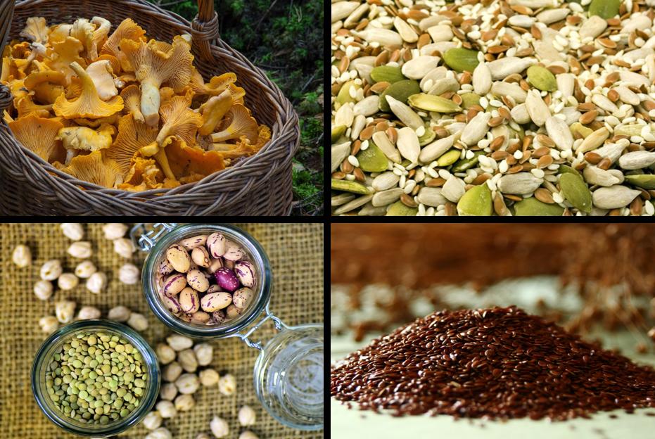 Vegane eisenhaltige Lebensmittel: Pfifferlinge, Kürbiskerne und Sesam, Hülsenfrüchte und Leinsamen